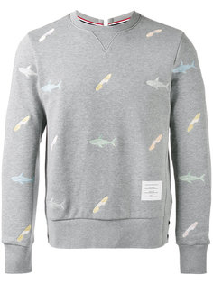embroidered shark sweatshirt  Thom Browne