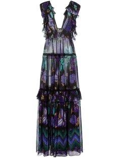 платье с цветочным принтом и оборками  Alberta Ferretti