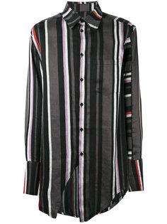 полосатая рубашка с нагрудным карманом Yang Li