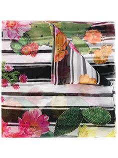 полосатый шарф с цветочным принтом Blugirl