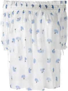 блузка с открытыми плечами и цветочным принтом Alexander McQueen
