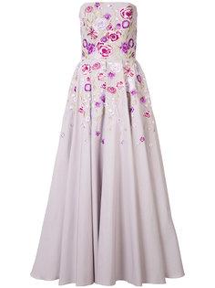 strapless floral print dress Marchesa Notte