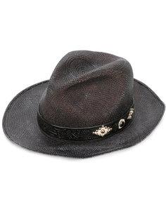 соломенная шляпа с кожаной деталью Htc Hollywood Trading Company