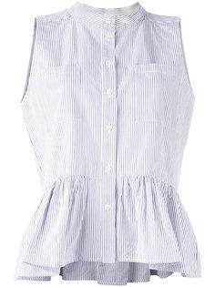 pinstripe frill-trim blouse Sea