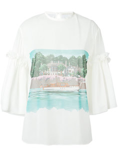 beach print sheer blouse Marco De Vincenzo