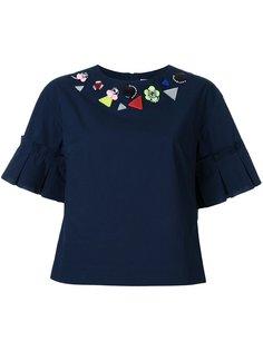 футболка с декорированным воротником Muveil