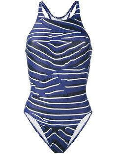слитный купальник с зебровым узором Adidas By Stella Mccartney