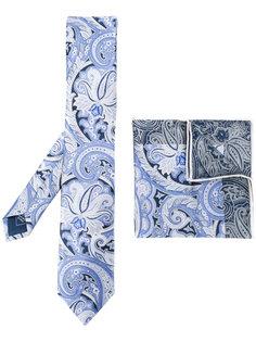 """галстук и нагрудный платок с принтом """"пейсли"""" Brioni"""