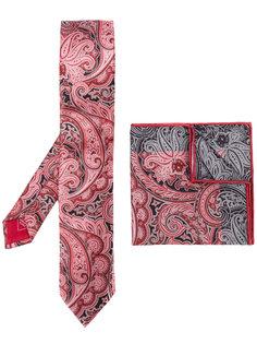 галстук и нагрудный платок с орнаментом Brioni