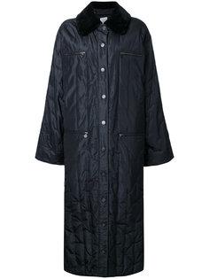 длинная куртка с контрастным воротником Chanel Vintage