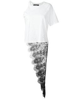 Penny one shoulder lace panel T-shirt Filles A Papa