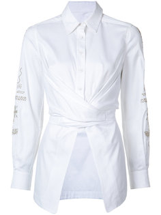 embroidered sleeve wrap blouse Yigal Azrouel