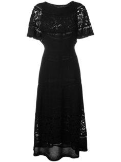 длинное платье с кружевными панелями Valentino