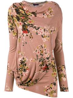 ассиметричная блуза с цветочным рисунком Kenzo Vintage