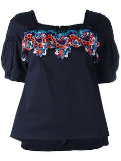 ruffle neck lace insert blouse Peter Pilotto
