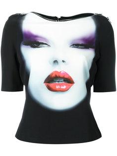 face print zip trim cropped T-shirt Jeremy Scott
