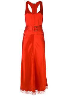 платье с поясом и кружевным подолом Nina Ricci