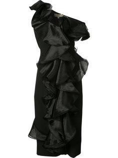 облегающее платье с воланами Christian Siriano