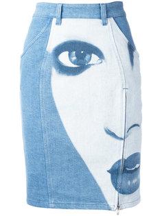 face print denim skirt Jeremy Scott