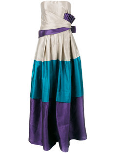 вечернее платье колор-блок без бретелек  Alberta Ferretti
