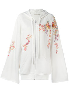 embroidered flowers zipped hoodie Amen Amen.
