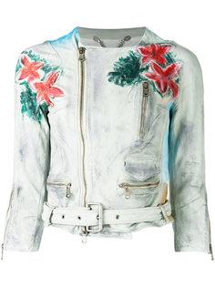 floral print biker jacket Pihakapi