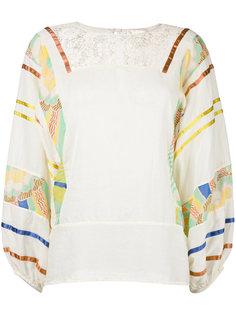 блузка с контрастными рукавами Erika Cavallini
