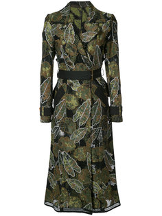 leaf embroidered trench coat Yigal Azrouel