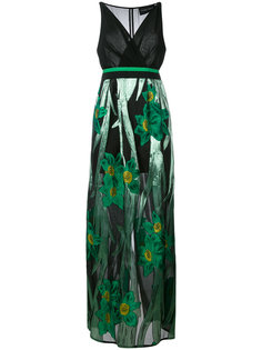 metallic floral print dress Christian Pellizzari