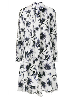 ladder sleeve floral print dress Osman