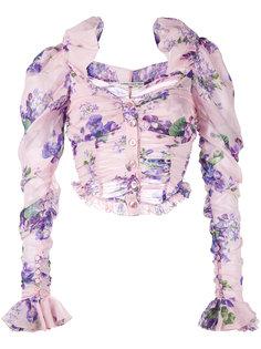 укороченная блузка с цветочным узором Alessandra Rich