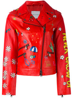 multi-prints biker jacket Mira Mikati