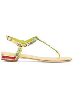 beaded T-bar flat sandals René Caovilla