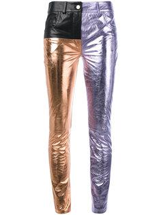 трехцветные кожаные брюки Haider Ackermann