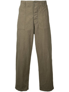 back satin utility trousers Gold