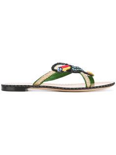 сандалии с украшением в виде попугая Charlotte Olympia