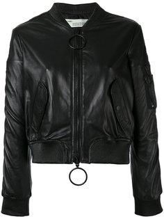 укороченная кожаная куртка-бомбер Off-White