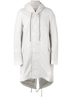пальто с капюшоном и удлиненным краем  Rick Owens DRKSHDW