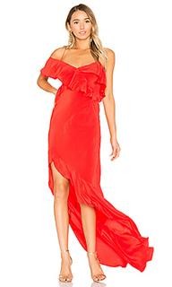 Вечернее платье с рюшами и асимметричным подолом - Michelle Mason