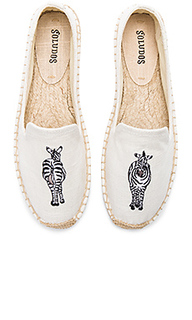 Жатые слипперы с принтом зебра - Soludos