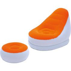 Кресло надувное с пуфиком, оранжевое, Bestway