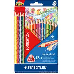 Набор цветных карандашей Noris Club трехгранные, 12 цветов, 16 шт. Staedtler