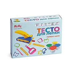 """Тесто для лепки """"Первые шаги"""", 4 цвета+ 1 пресс, 12 формочек, 1 каток, 1 нож Molly"""