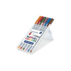 Капиллярная ручка Triplus 6 цв/наб, цвета природы Staedtler