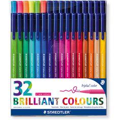 Набор фломастеров Triplus Сolor, 32 цвета, трехгранные,  яркие цвета Staedtler