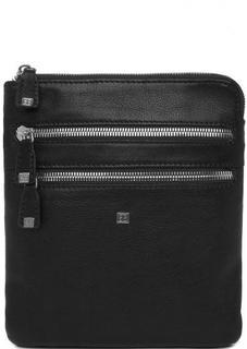 Черная кожаная сумка на молнии Sergio Belotti