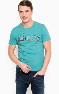 Бирюзовая футболка с принтом Guess