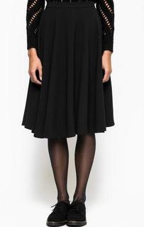 Черная юбка средней длины в складку Fornarina