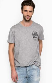Хлопковая футболка серого цвета G Star RAW
