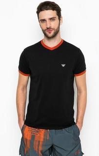 Черная футболка с контрастной отделкой Armani Jeans